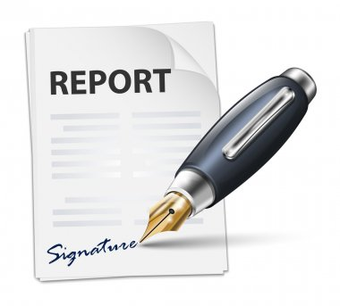 Signing report icon.