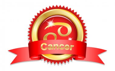 Cancer sign with red ribbon