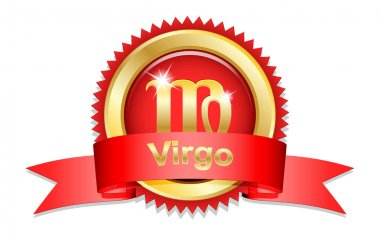 Virgo sign with red ribbon