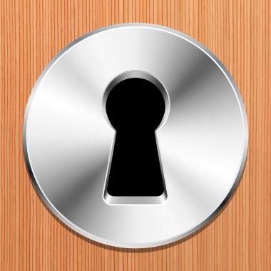 Keyhole in  wooden door