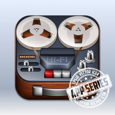 Reel to Reel Tape Recorder Icon. vintage technology, vector illustration stock vector