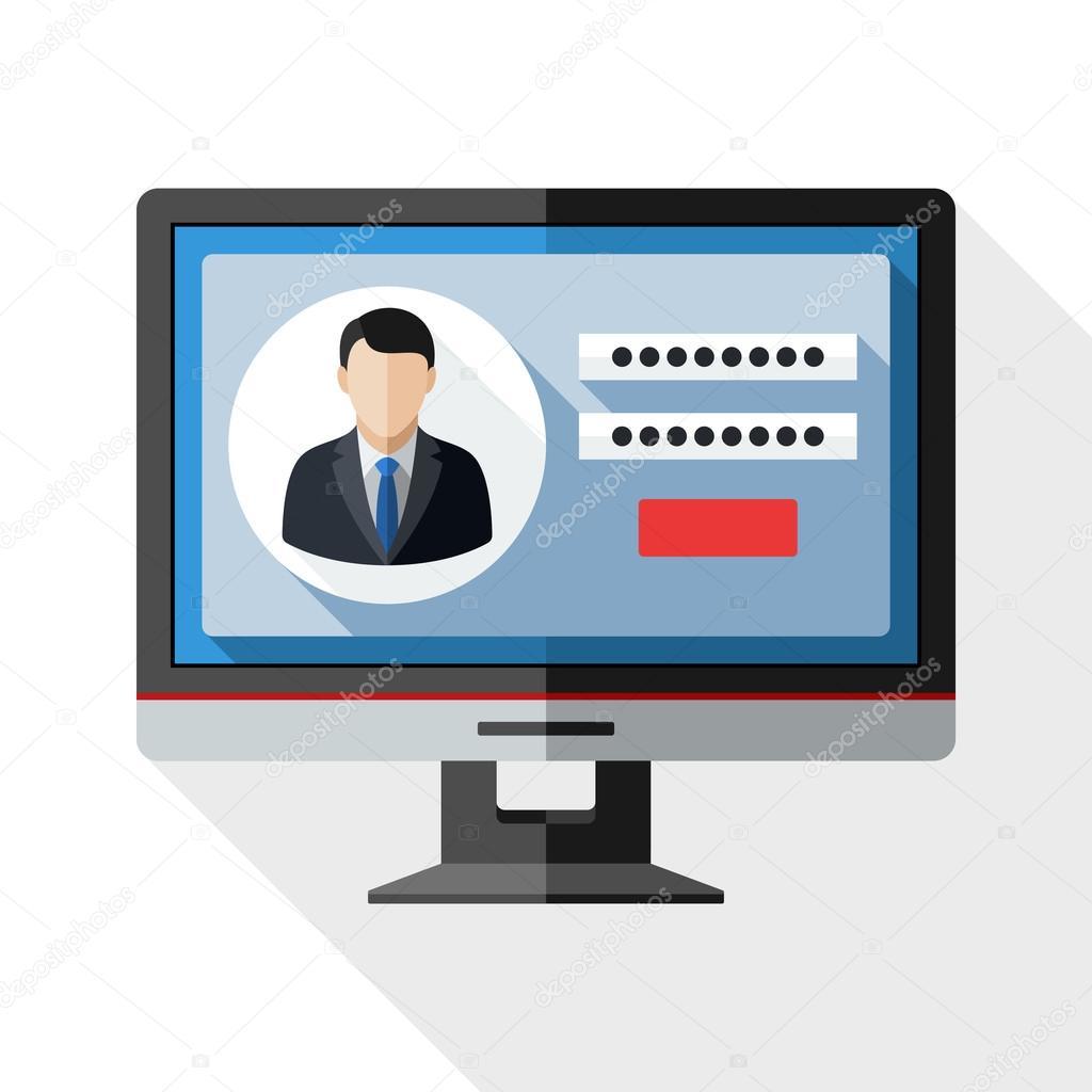 Ícone de monitor com login de usuário vetor de stock realvector