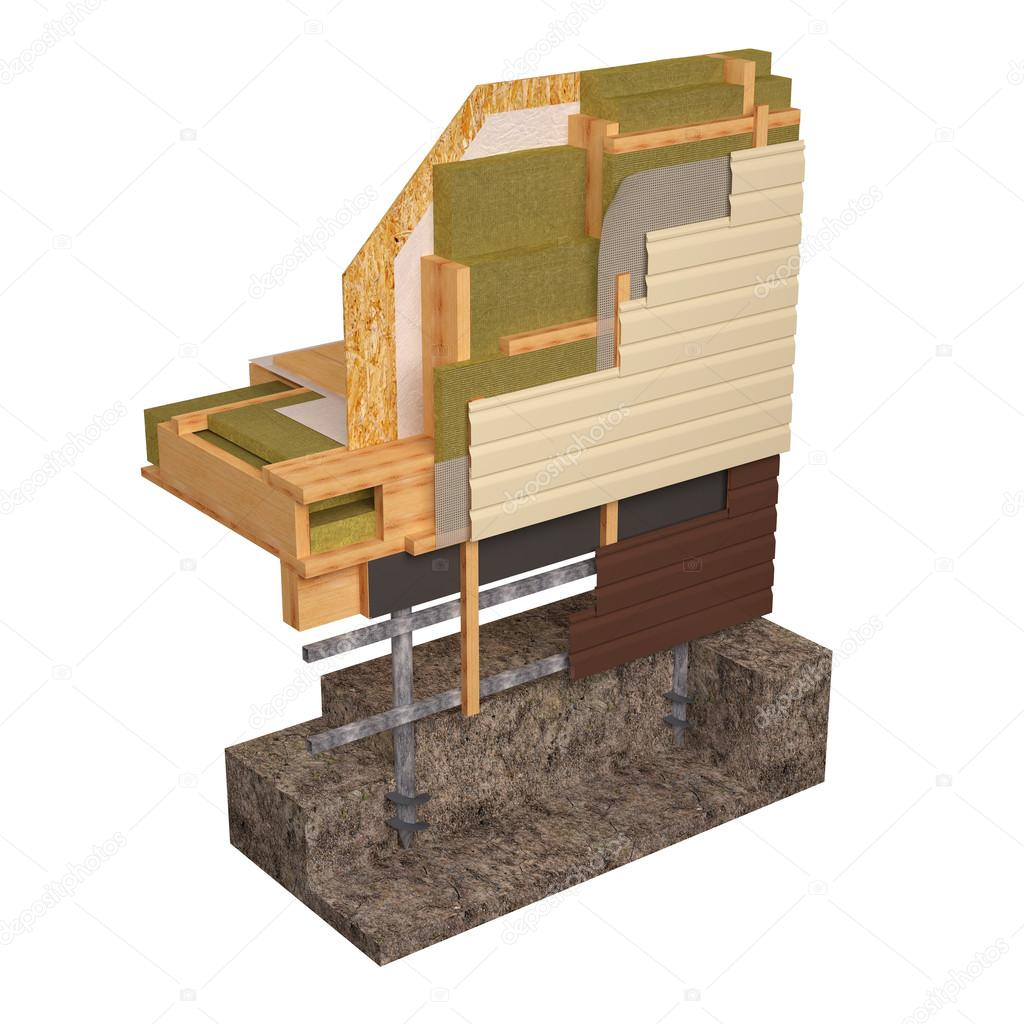 3D Konzeptbild von Isolierung und bauen Holzhaus Bau — Stockfoto ...