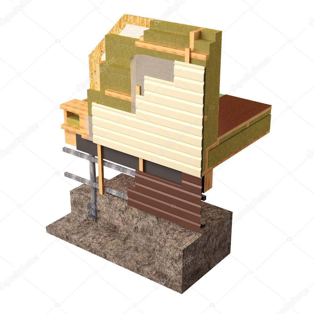 3d Conceptual image of insulation and building construction frame ...