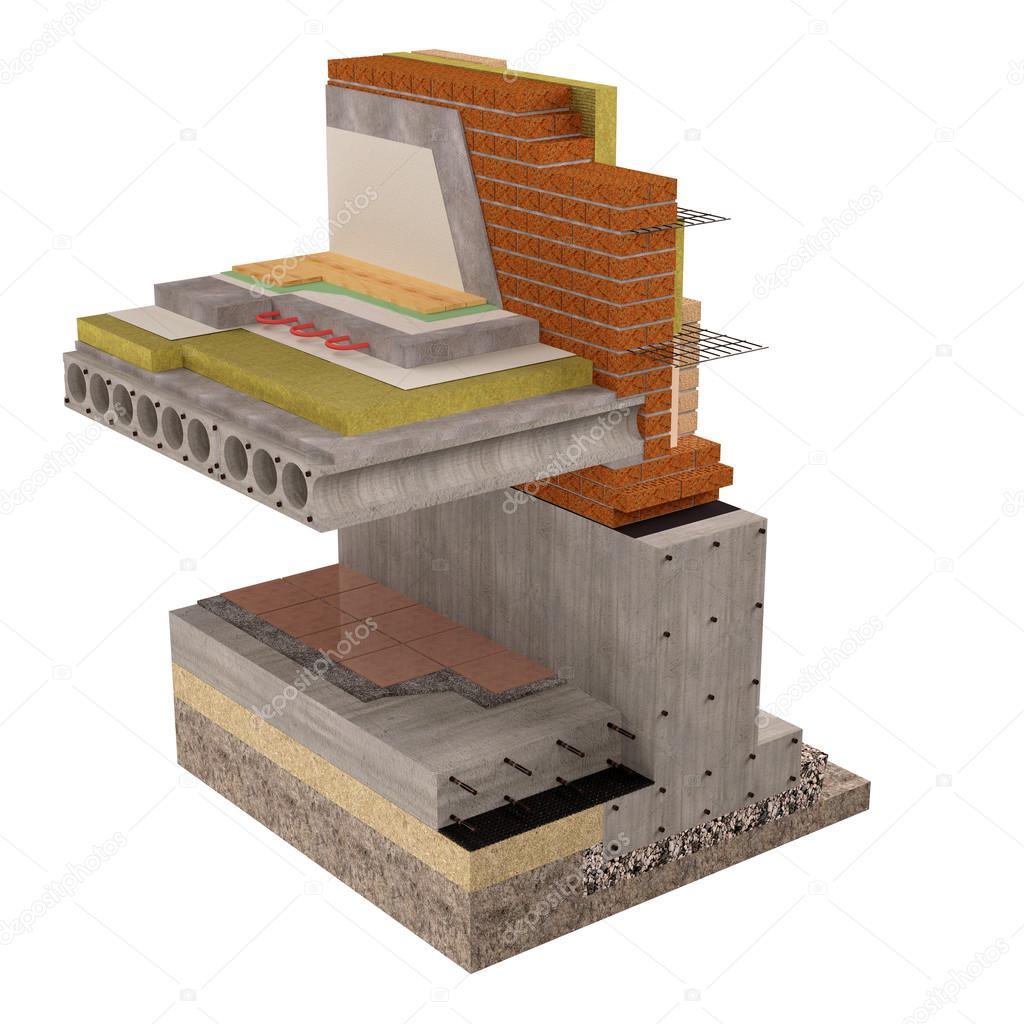 Immagine di computer rendering 3d di fondazioni e muri con for Fondazioni per case in legno
