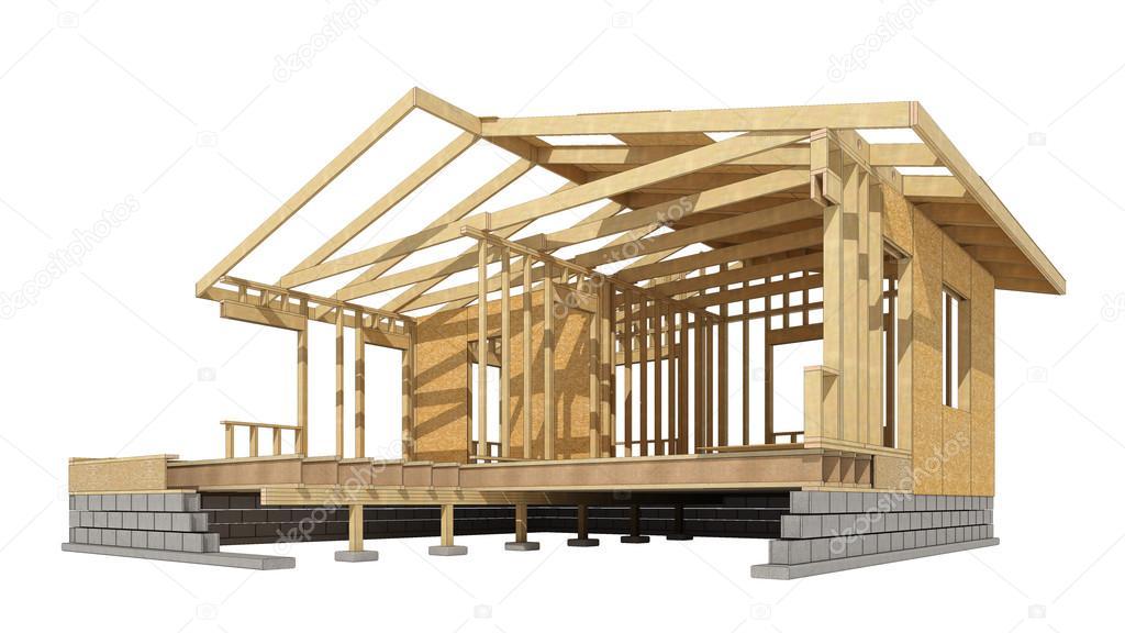 Casa estructura de madera — Foto de stock © tvildanov #83855710