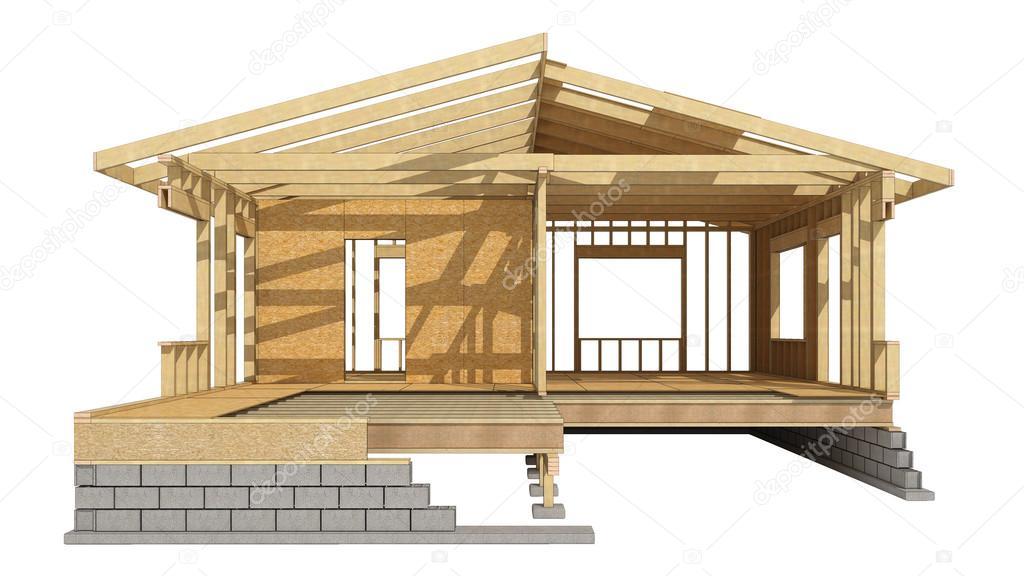 Casa estructura de madera — Foto de stock © tvildanov #83855718