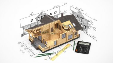 The model of a log house on the background drawings with drawing instruments