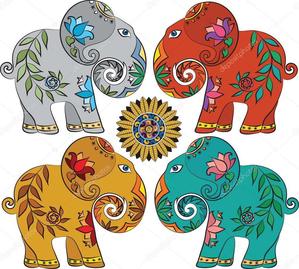 Dibujos Elefantes Indios Conjunto De 4 Elefantes Indios Vector