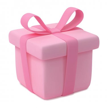 Gift box with ribbon in cartoon style. Pink present. Vector EPS 10. icon