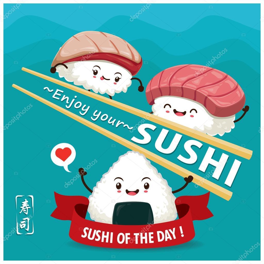 Vintage Sushi Poster Design Mit Vektor Sushi Charakter Chinesische