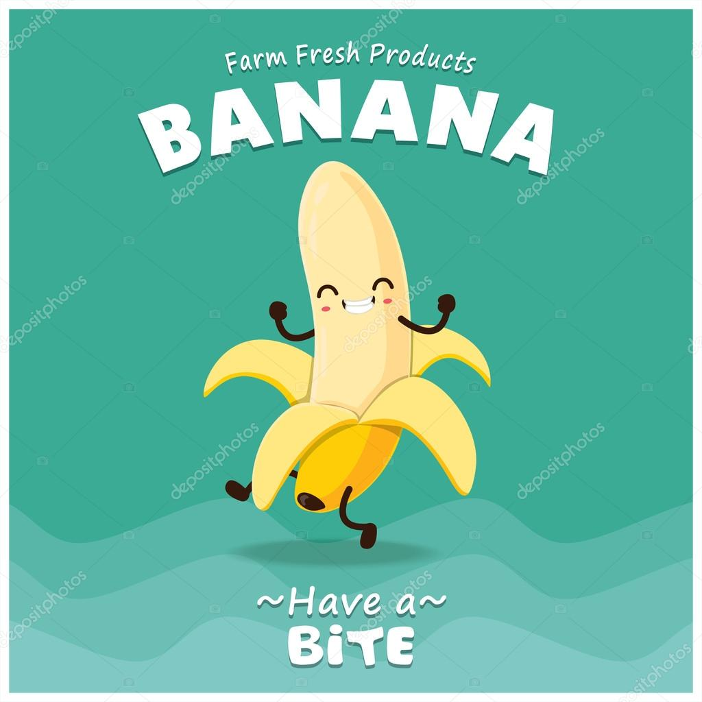vintage banana poster design with vector banana character stock