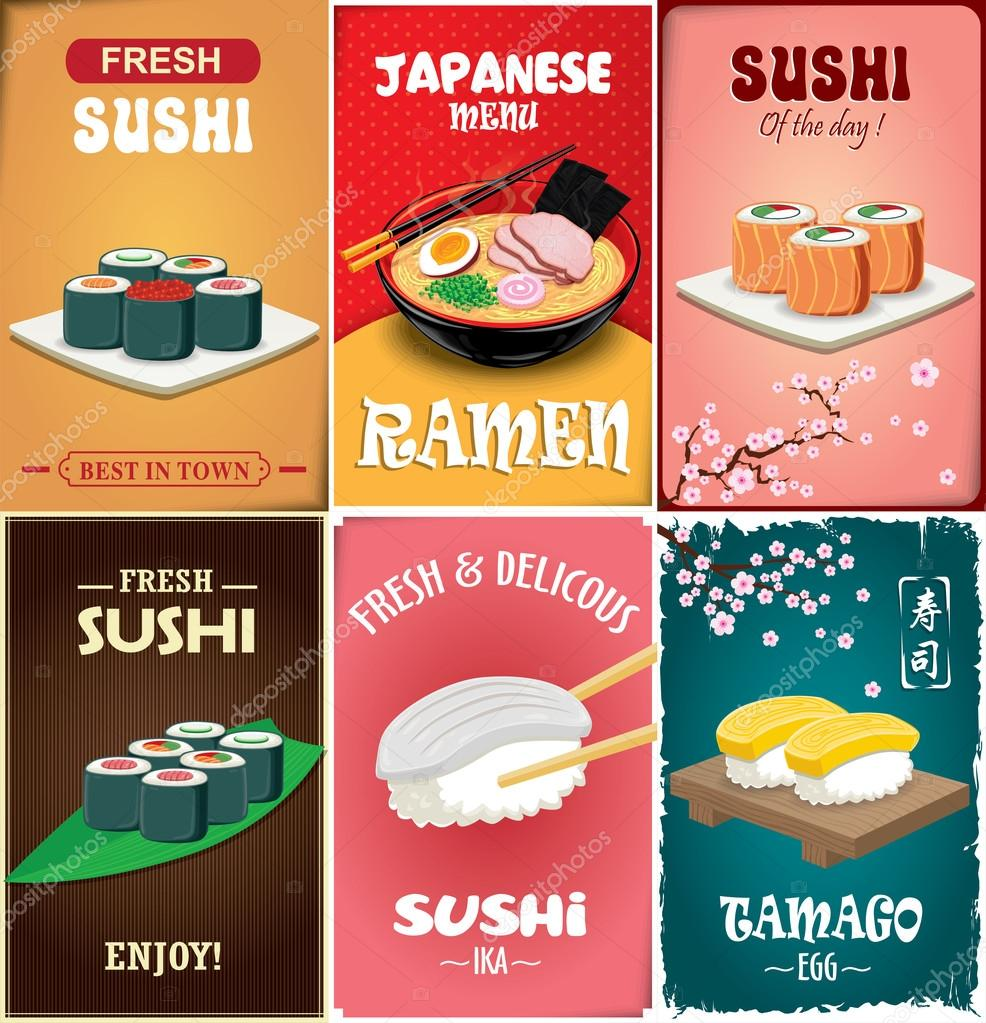 Vintage Sushi Poster Design With Vector Ramen Chinese Word Means Green Tea By Donnay