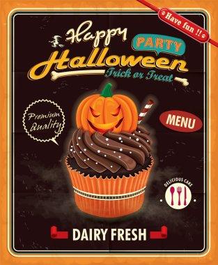 Vintage Halloween cupcake poster design