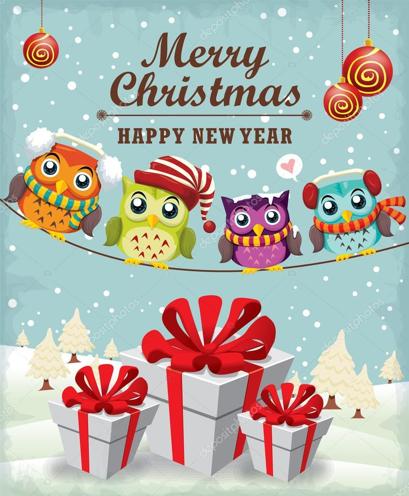Xmas poster design - Vintage Christmas Poster Design Wiht Owl Stock Vector 58263945