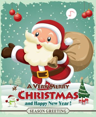 Vintage Christmas poster design with Santa Claus & snowman