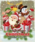 Vintage plakát vánoční design s Santa Claus, sněhulák, elf  jelen