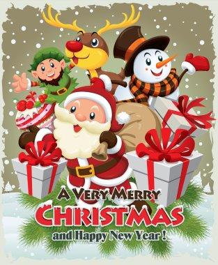 Vintage Christmas poster design with Santa Claus, Snowman, elf & deer