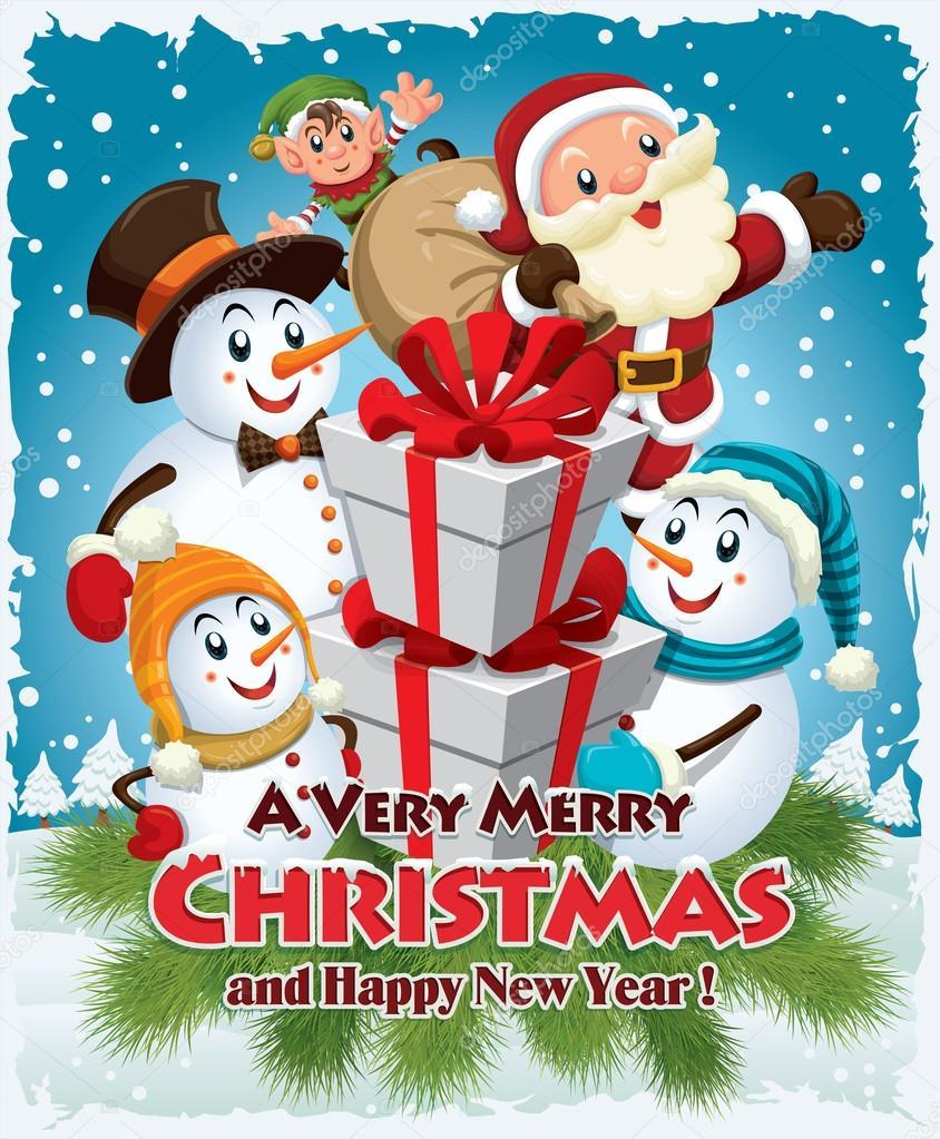 Xmas poster design - Vintage Christmas Poster Design With Santa Claus Snowman Elf Stock Vector 59989013
