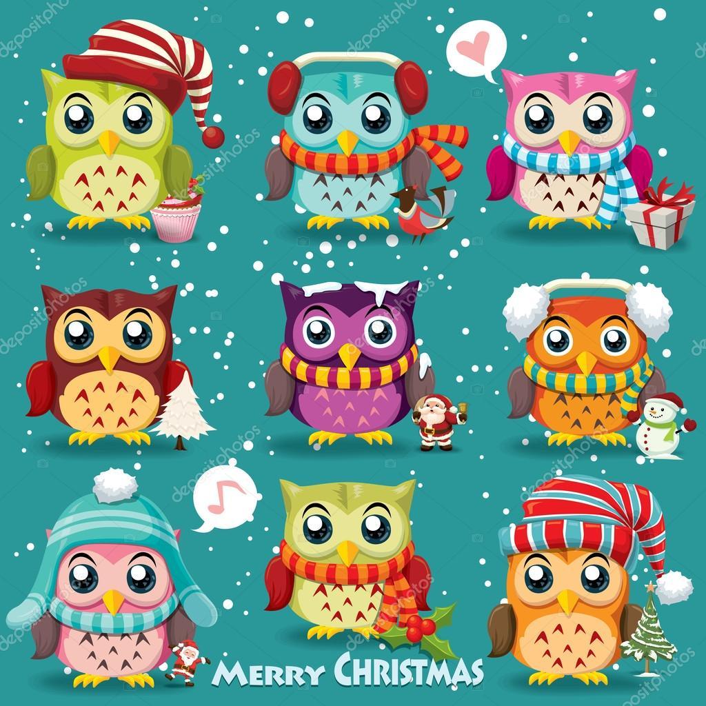 Vintage Christmas poster design with owls, Santa Claus, snowman