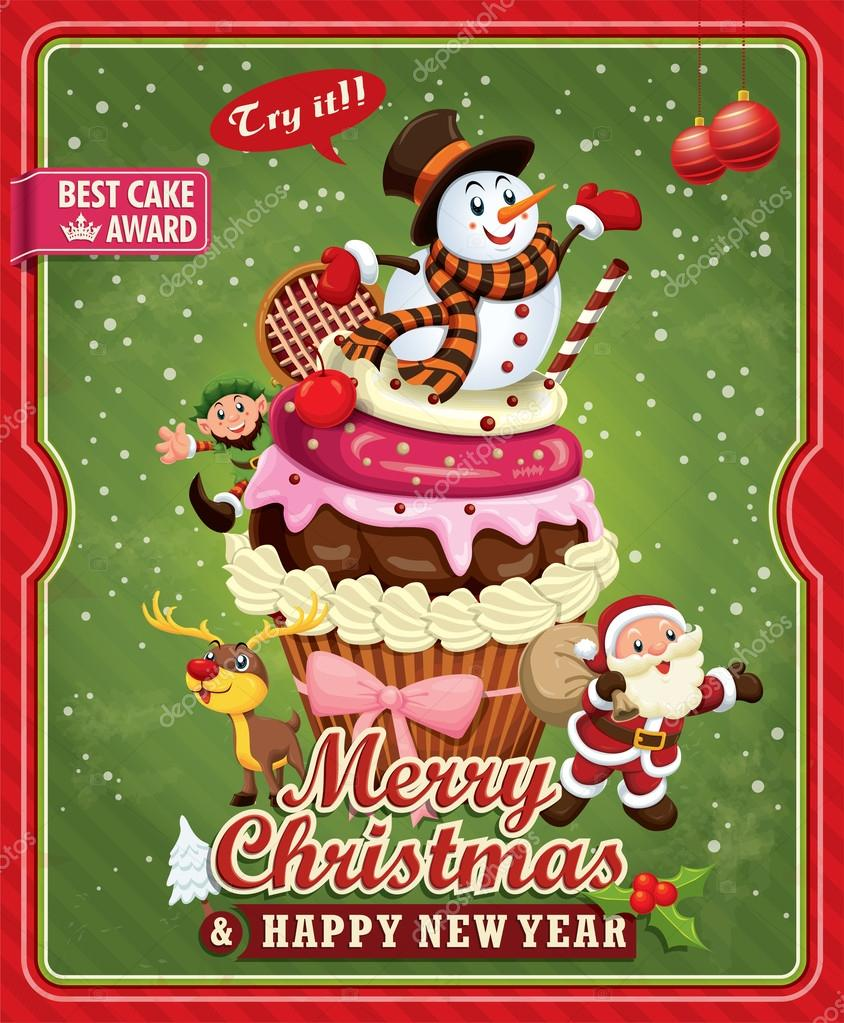 Xmas poster design - Vintage Christmas Poster Design With Santa Claus Cupcake Snowman Elf Deer Vector By Donnay