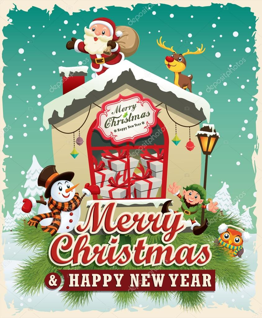 Xmas poster design - Vintage Christmas Poster Design With Santa Claus Snowman Elf Deer Stock Vector