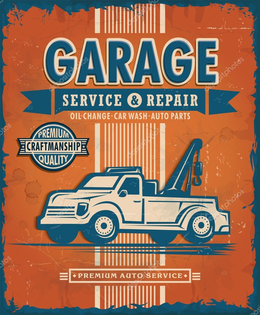 Parts of a poster design - Vintage Garage Poster Design Stock Vector 64732803