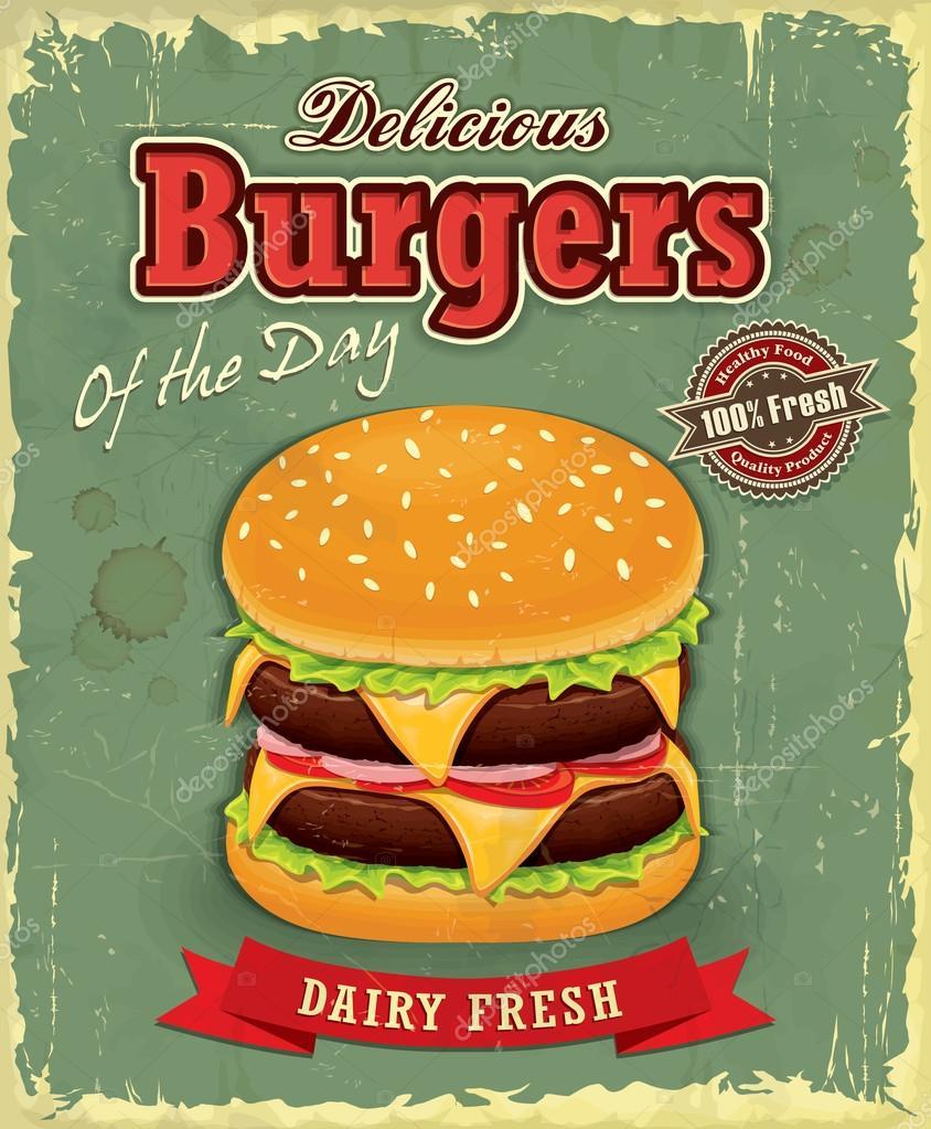 Poster design on mac - Vintage Burger Poster Design Stock Vector 65851785