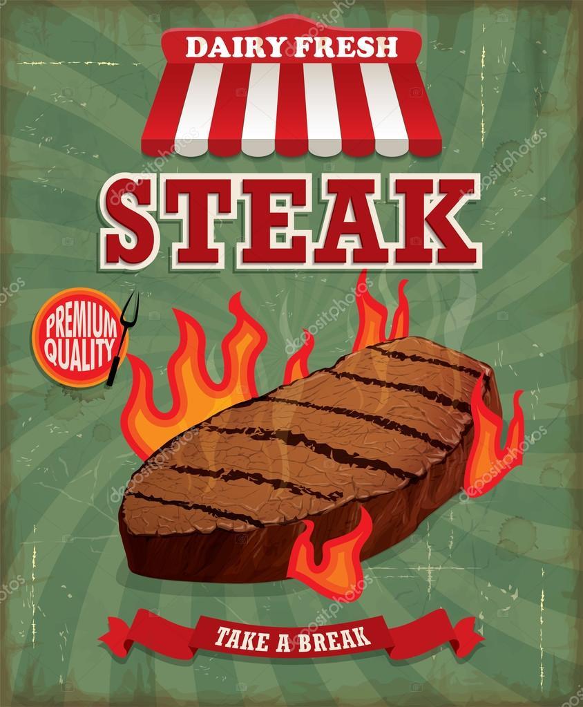 Poster design vintage - Vintage Steak Poster Design Stock Vector 68900585