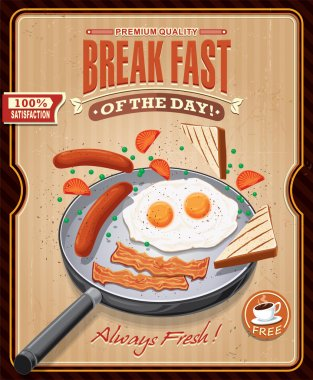 Vintage breakfast poster design with bacon, eggs sausage on pan