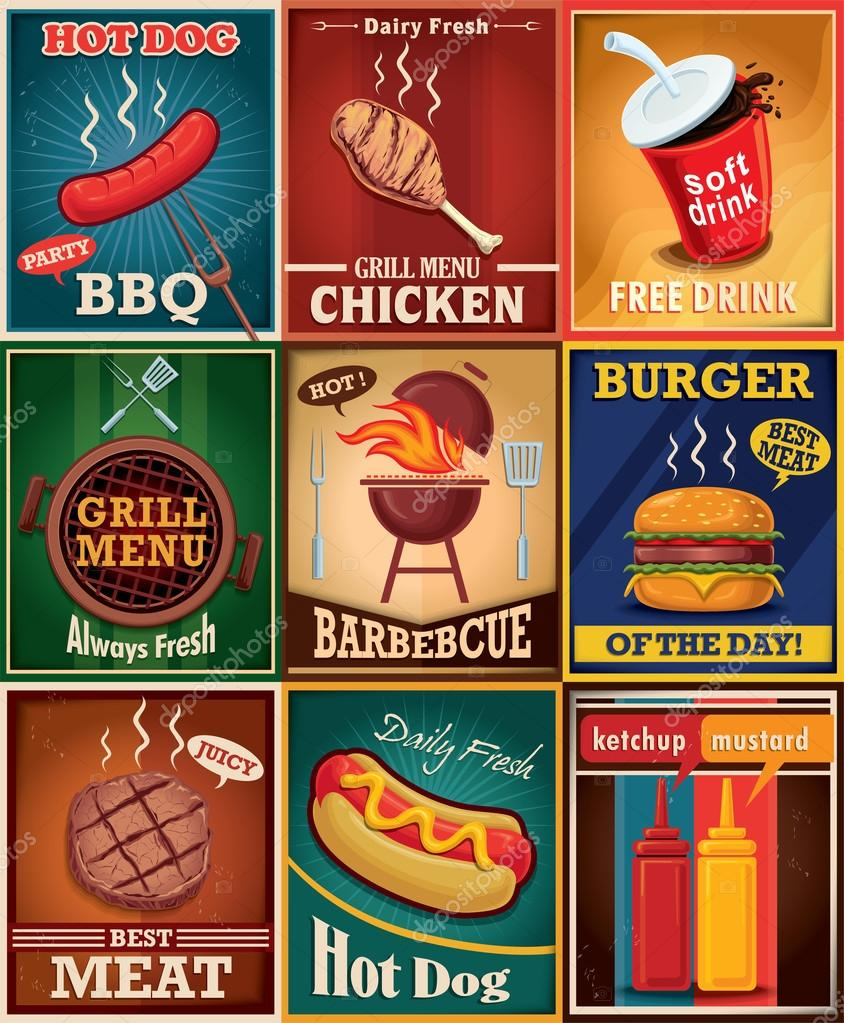 Poster design vector download - Vintage Bbq Grill Poster Design Set Stock Vector 70453329