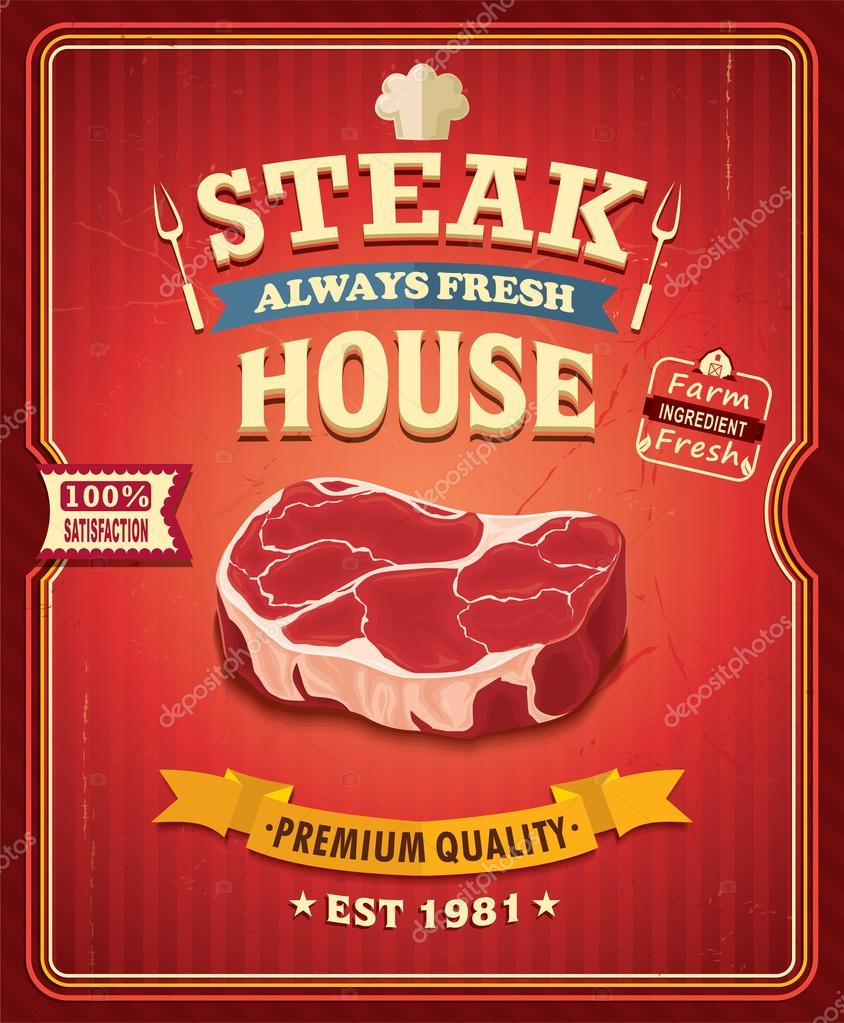 Poster design vector download - Vintage Steak Poster Design Stock Vector 71468801