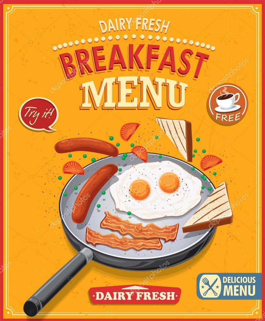 Favori d'affiche menu petit-déjeuner Vintage — Image vectorielle #73127659 RL96