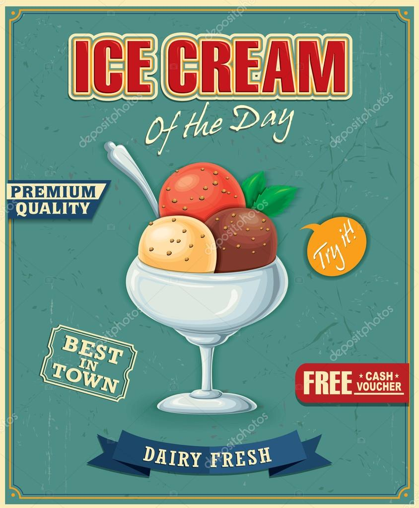 Design poster ice cream - Vintage Ice Cream Poster Design Stock Vector 74192667