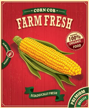 Vintage farm fresh corn poster design