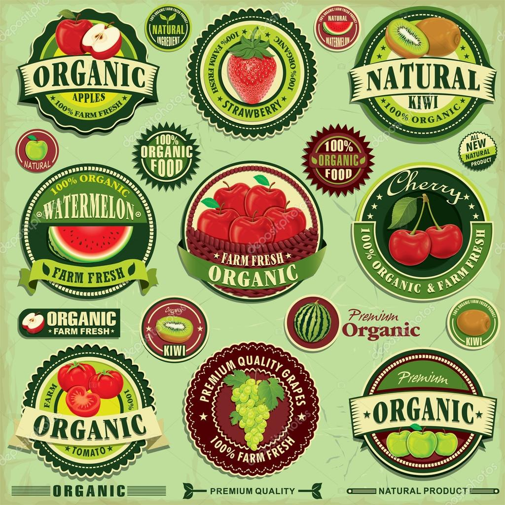 Set Of Labels For Natural Farming: Vintage Farm Fresh Label Design Set Stock Vector