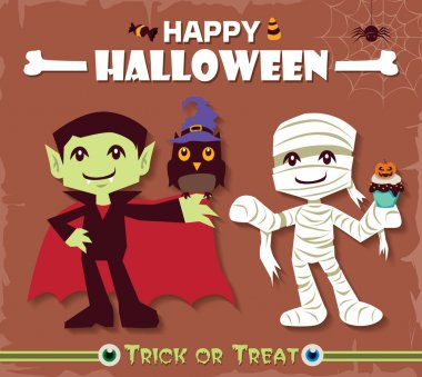 Vintage Halloween poster design set with mummy & vampire character