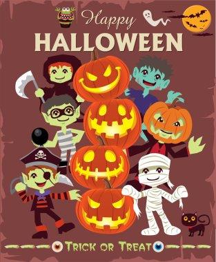 Vintage Halloween character poster design set