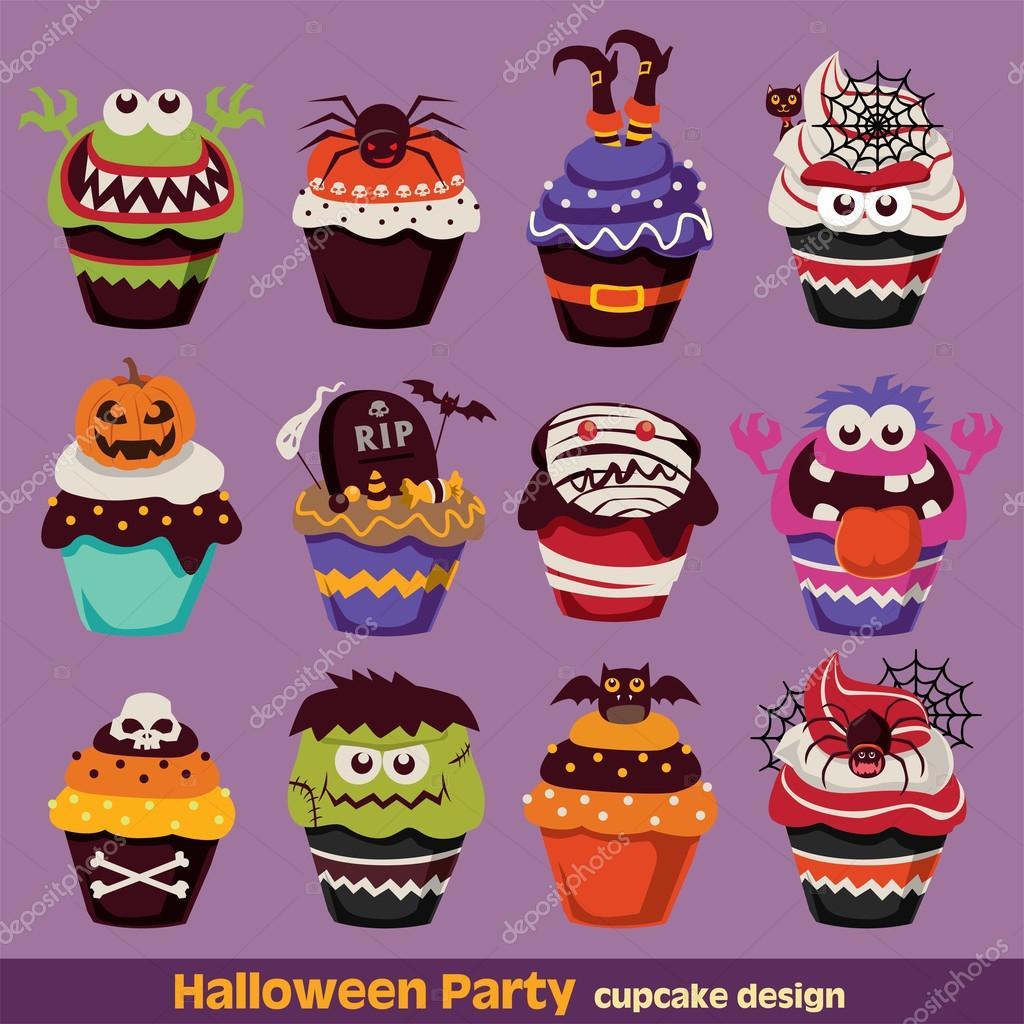 Vintage Halloween cupcake poster design set — Stock Vector