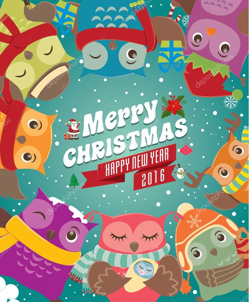 Xmas poster design - Vintage Christmas Poster Design With Owls Stock Vector 93068908