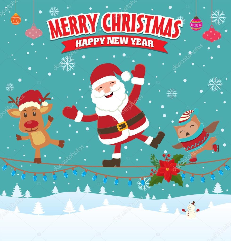 Vintage Weihnachten-Poster design mit Santa claus — Stockvektor ...