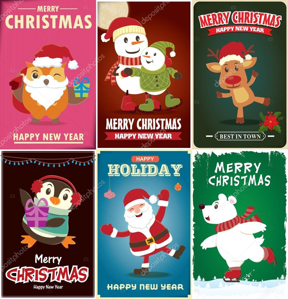 Xmas poster design - Vintage Christmas Poster Design Set Stock Vector 93505450