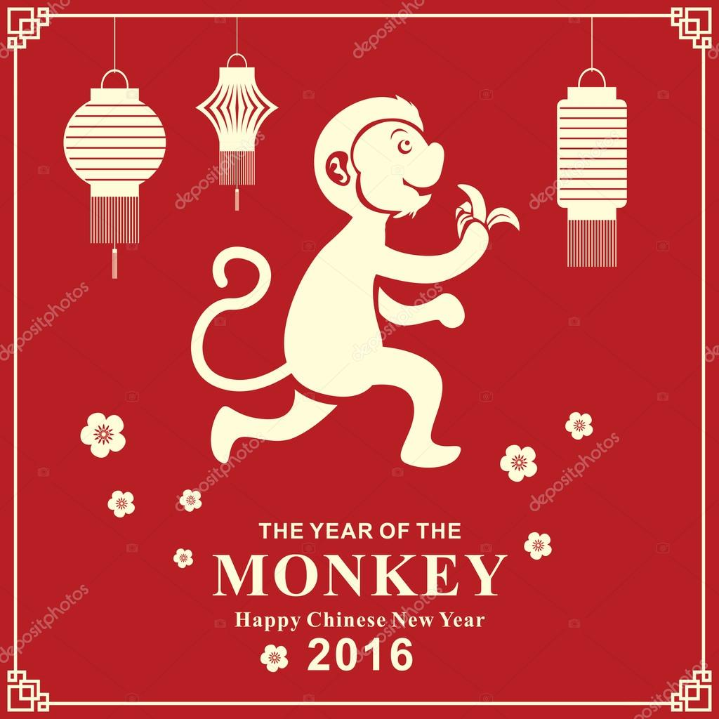 vintage chinese new year poster design with chinese zodiac monkey stock vector 94941708 - Chinese New Year 2016 Zodiac