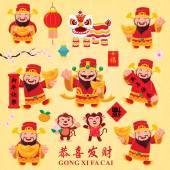 Photo Vintage Chinese new year poster design with Chinese God of Wealth  Chinese Zodiac monkey, Chinese wording meanings: Happy Chinese New Year, Wealthy  best prosperous