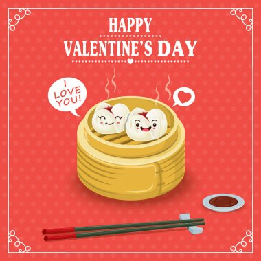 Vintage Valentines Day poster design with dim sum character