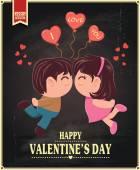 Vintage design Valentýn plakát s pár