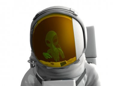 Reflected on spacesuit visore alien