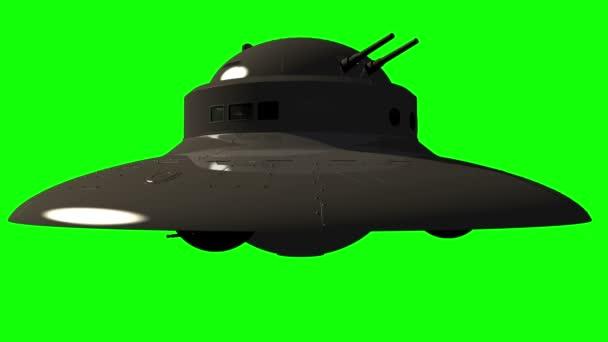 Vojenské Ufo se zbraněmi - neidentifikovaný létající objekt na greenscreen