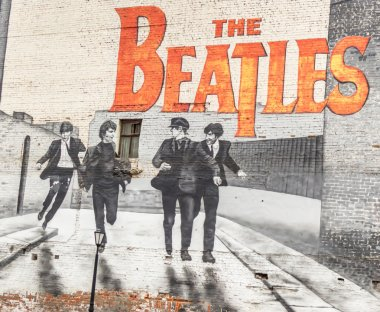 MOSCOW, RUSSIA - DECEMBER 5, 2015: The Beatles graffiti on the wall in Moscow. Mytnaya street.