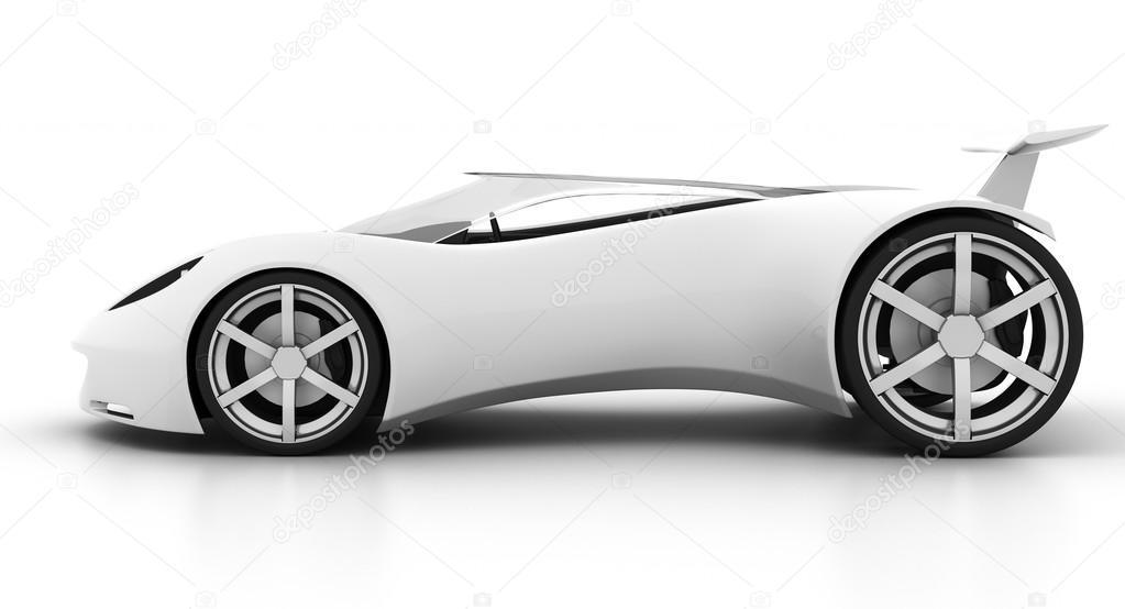 White Futuristic Concept Sport Car Side U2014 Stock Photo #61854863